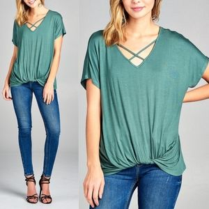 Twist Detail Short Sleeve Top - SAGE